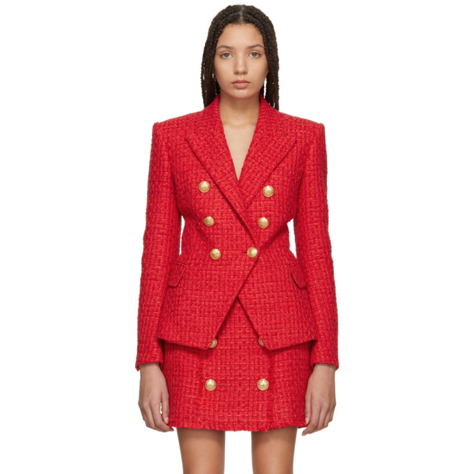 Balmain Red Six-Button Tweed Blazer