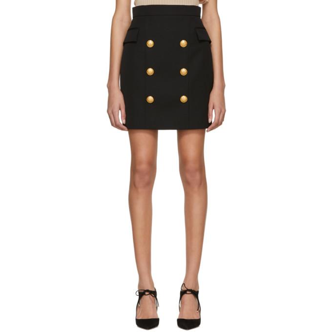 Balmain Black Wool Six-Button Miniskirt