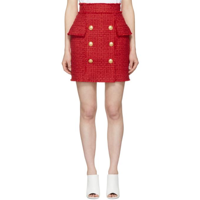 Balmain Red Tweed Miniskirt