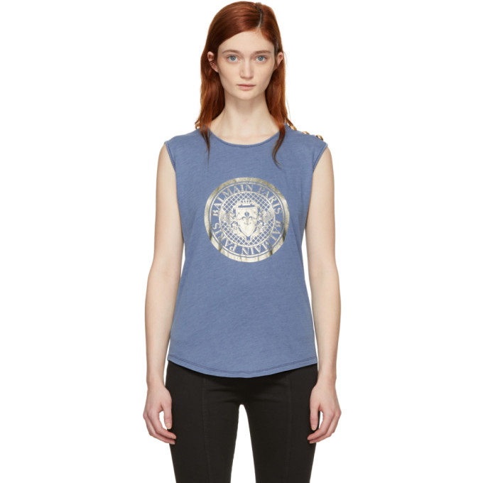 f00691c45c2 Balmain Blue Sleeveless Coin Logo T Shirt
