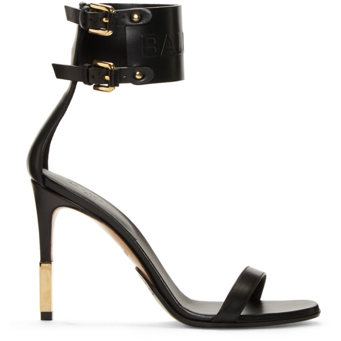 Balmain Black Logo Strap Sandals