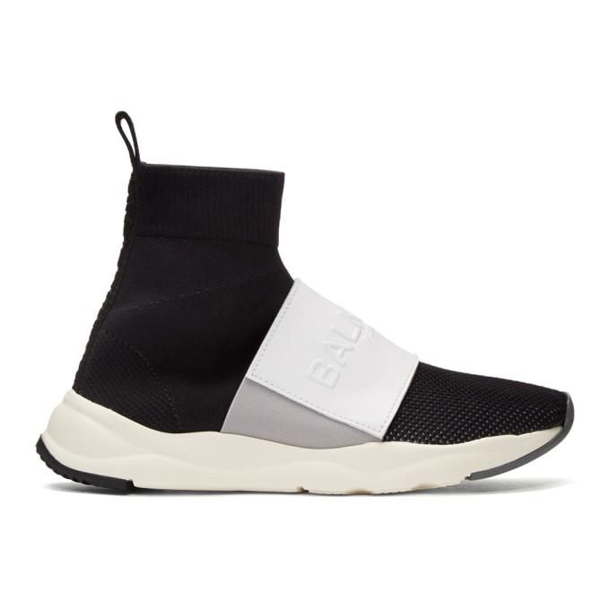 Balmain Black & White Cameron High-Top Sneakers
