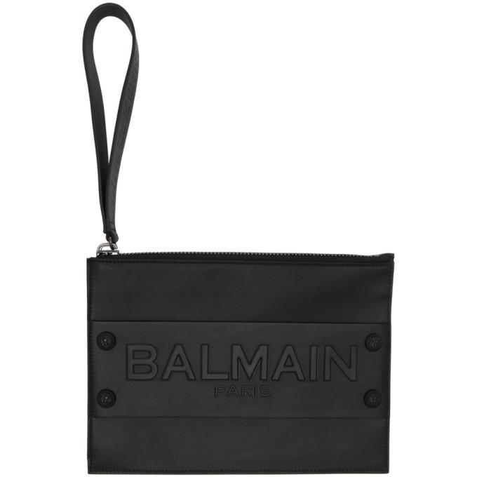 Balmain Black Mini Logo Pouch
