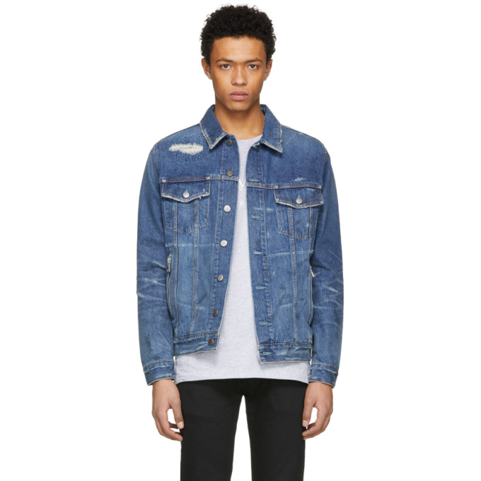 Balmain Blue Denim Vintage Destroy Jacket