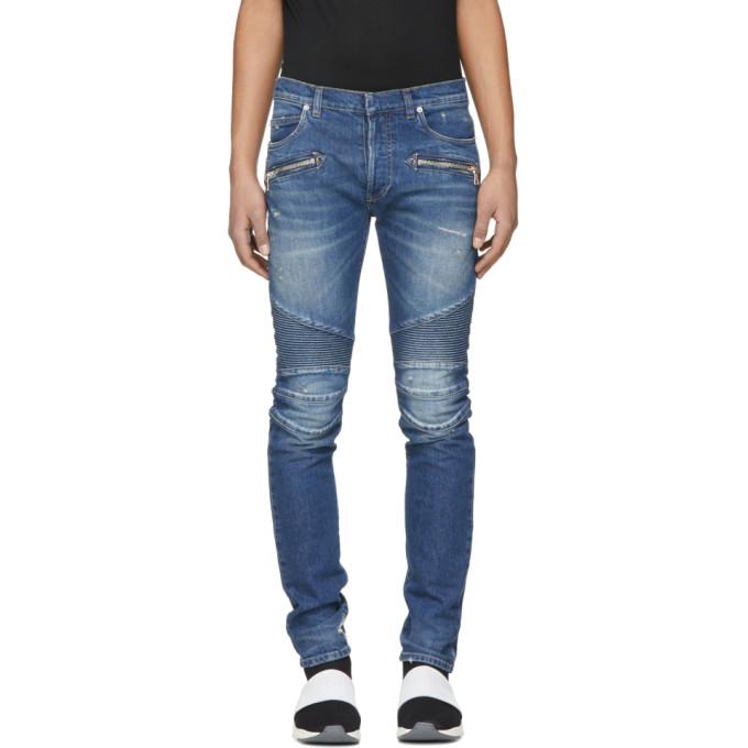 Balmain Blue 7-Pocket Washed Effect Biker Jeans