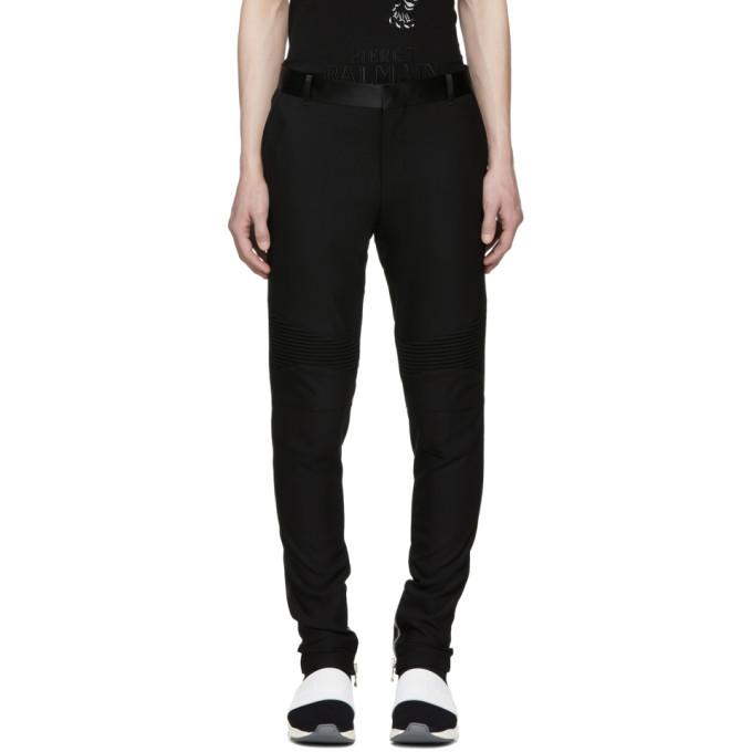 Balmain Black Satin Detail Trousers