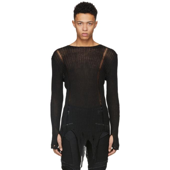 Balmain Black Distressed Knit Sweater