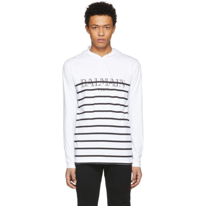 Balmain White & Black Striped Jersey Logo Hoodie