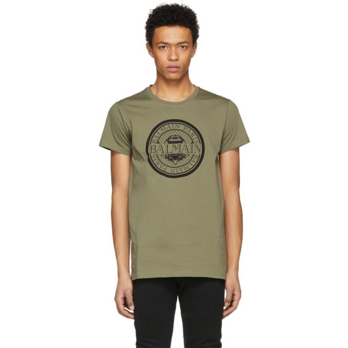Balmain Khaki Coin Logo T-Shirt