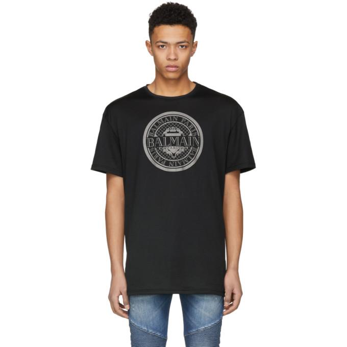 Balmain Black Oversized Coin Print T-Shirt