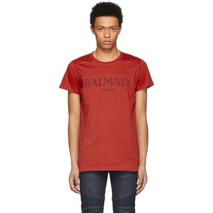 Balmain Red Logo T-Shirt