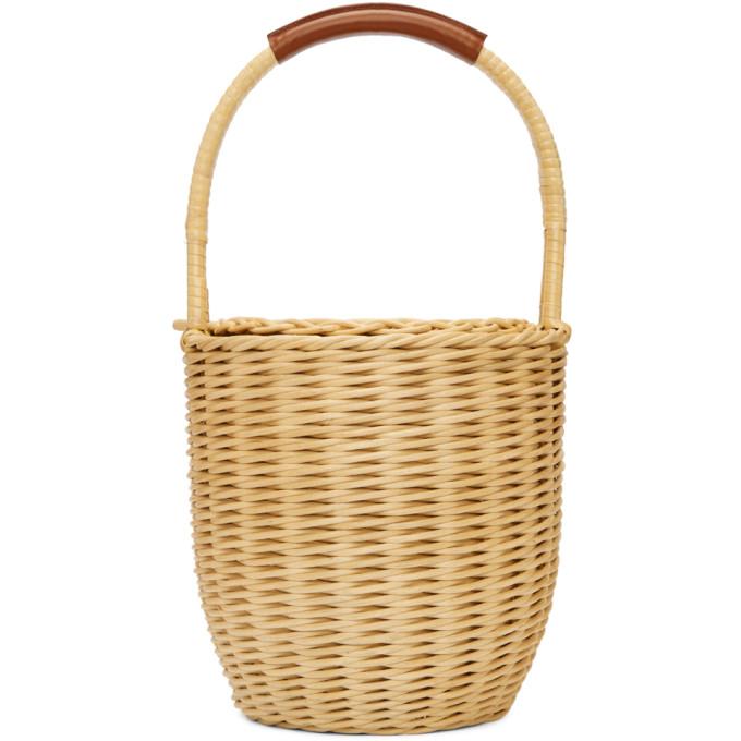 Image of A.P.C. Beige Woven Basket Jeanne Bag