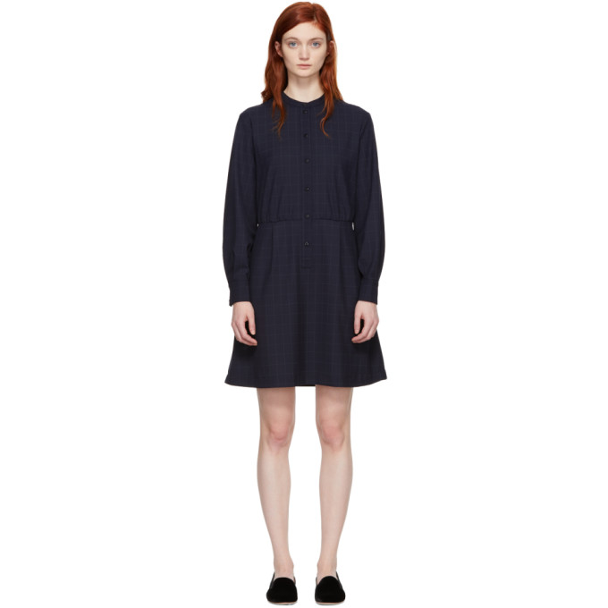 A.P.C. Navy Audrey Belted Dress