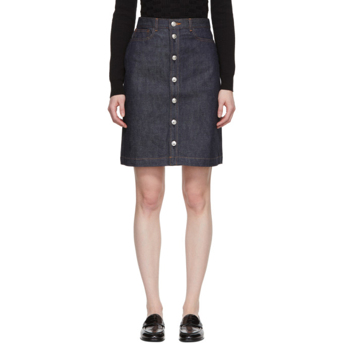 A.P.C. Indigo Theresa Button-Up Skirt