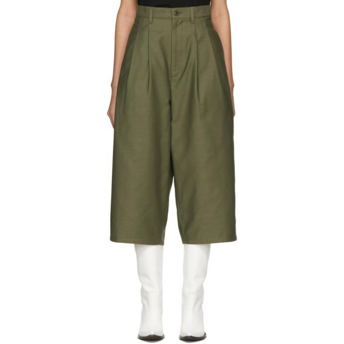 Junya Watanabe Pantalon à jambe ample vert