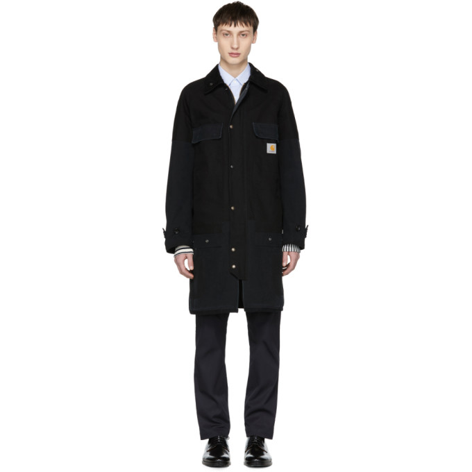 Image of Junya Watanabe Black Carhartt Edition Cotton Duck Coat