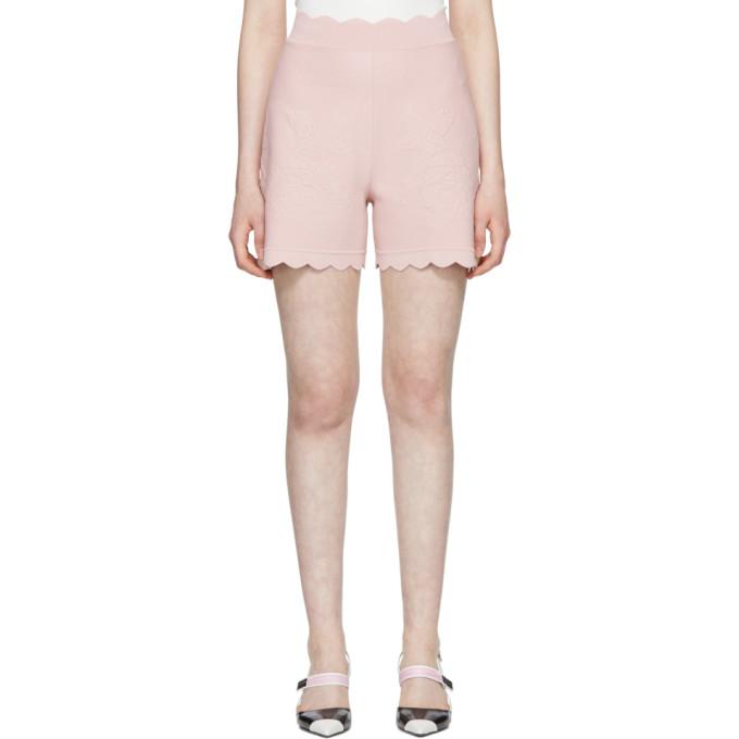 Alexander McQueen Pink Scalloped Knit Shorts