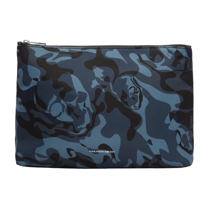 Alexander McQueen Blue Medium Zip Pouch