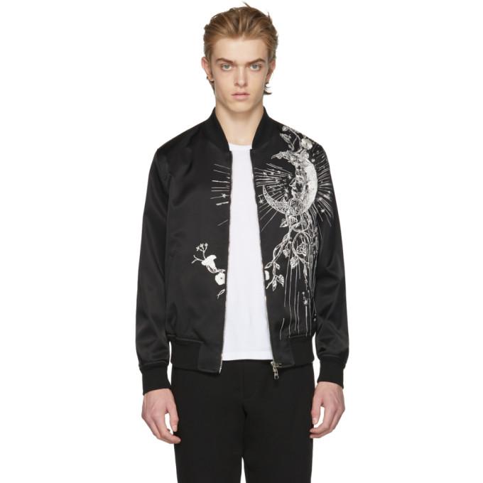 Alexander McQueen Black Satin Bomber Jacket