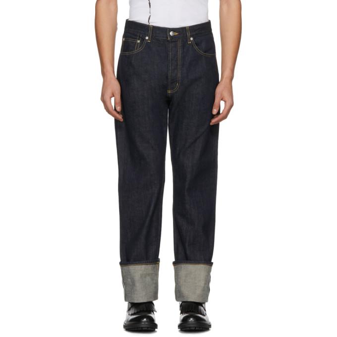 Alexander McQueen Blue Cuffed Jeans