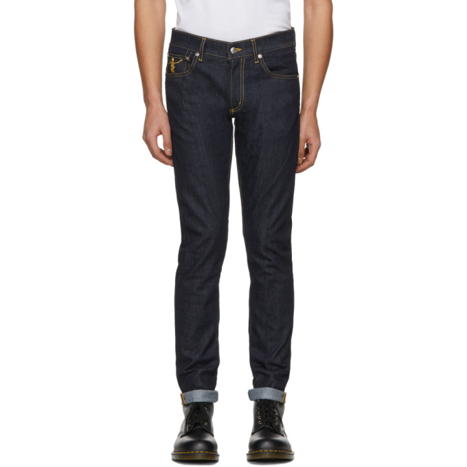 Alexander McQueen Blue Dancing Skeleton Fitted Jeans