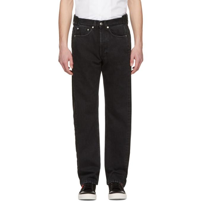 Alexander McQueen Black Deconstructed Selvedge Jeans