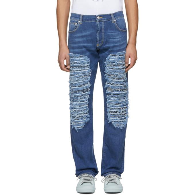 Alexander McQueen Blue Heavy Destroyed Jeans