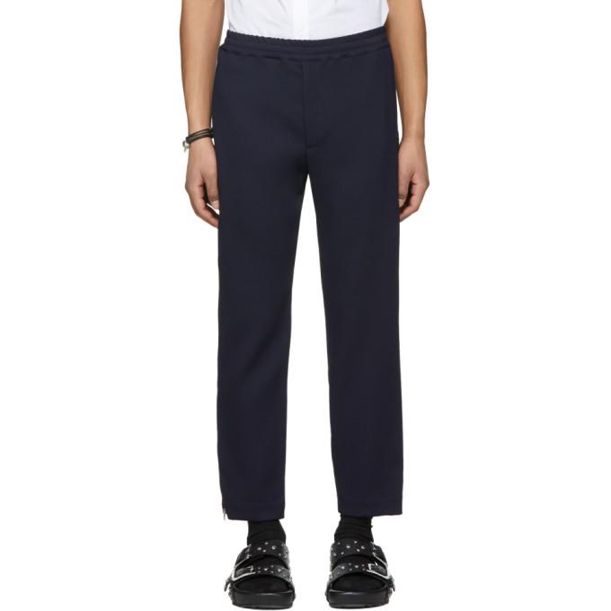 Alexander McQueen Blue Crepe Zip Lounge Pants