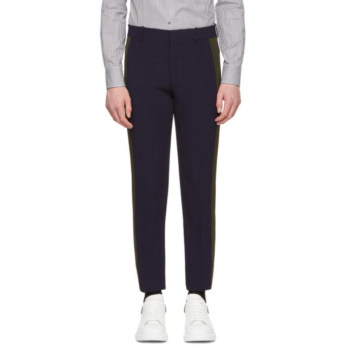 Alexander McQueen Navy & Khaki Single Crepe Trousers