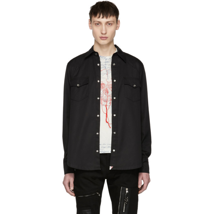 Alexander McQueen Black Washed Cotton Shirt