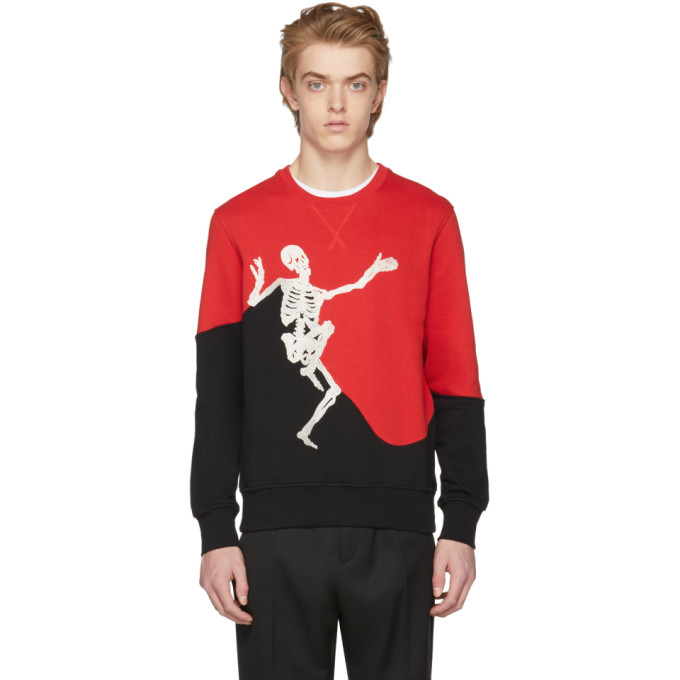 Alexander McQueen Red & Black Dancing Skeleton Sweatshirt