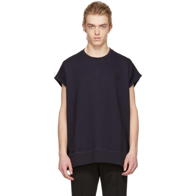 Alexander McQueen Blue Skull Cut-Off T-Shirt