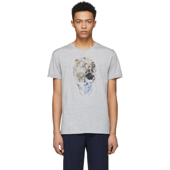 Alexander McQueen Grey Split Skull T-Shirt