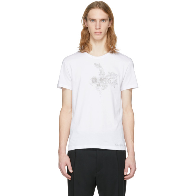 Alexander McQueen White Embroidered Skull T-Shirt