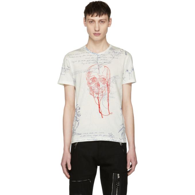 Alexander McQueen White Explorer & Skull Thread T-Shirt