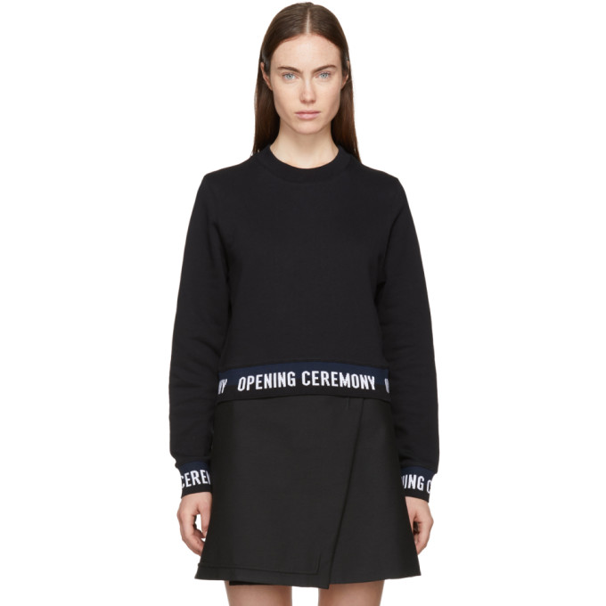 Image of Opening Ceremony Black Cropped Elastic Logo Sweatshirt
