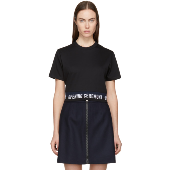 Image of Opening Ceremony Black Cropped Elastic Logo T-Shirt