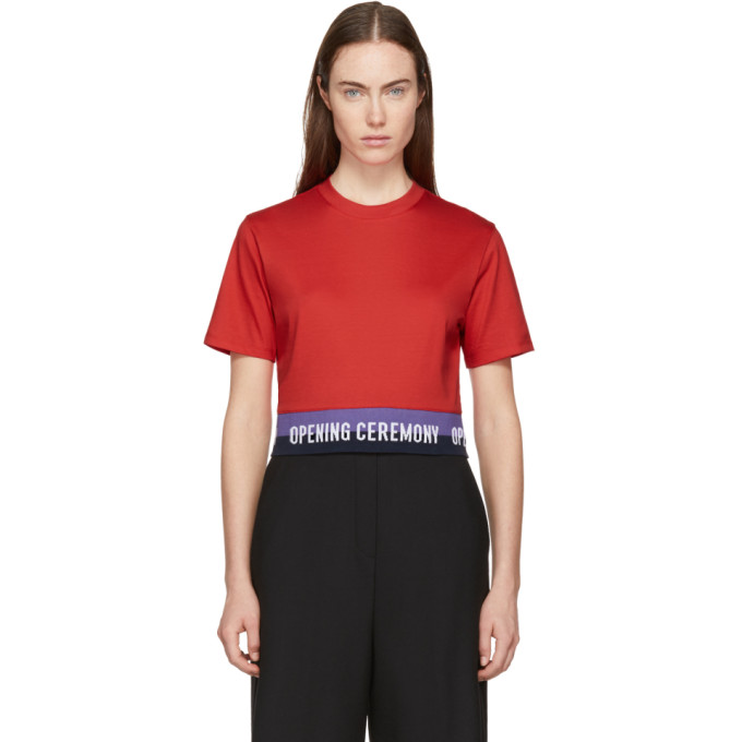 Opening Ceremony Red Cropped Elastic Logo T-Shirt