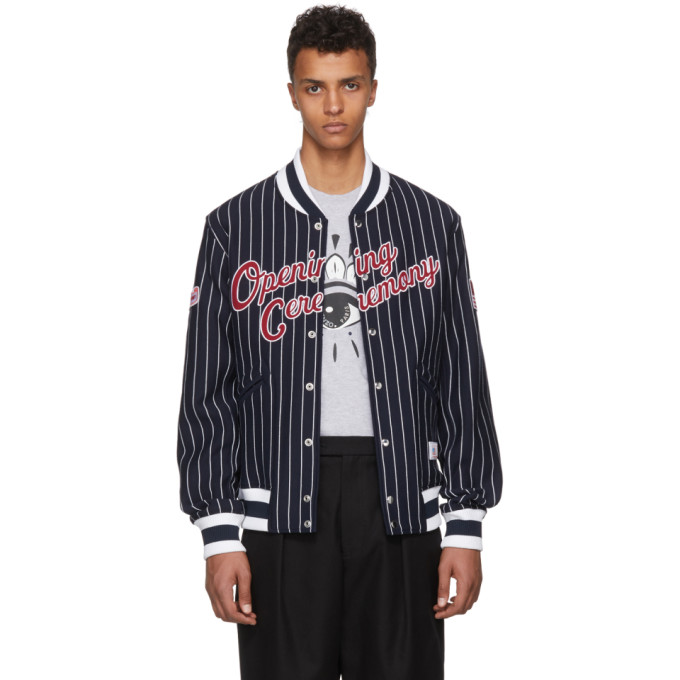 Opening Ceremony Navy Collegiate Logo Bomber Jacket