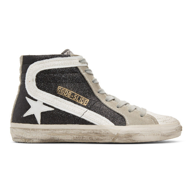 Image of Golden Goose Black Glitter Slide High-Top Sneakers