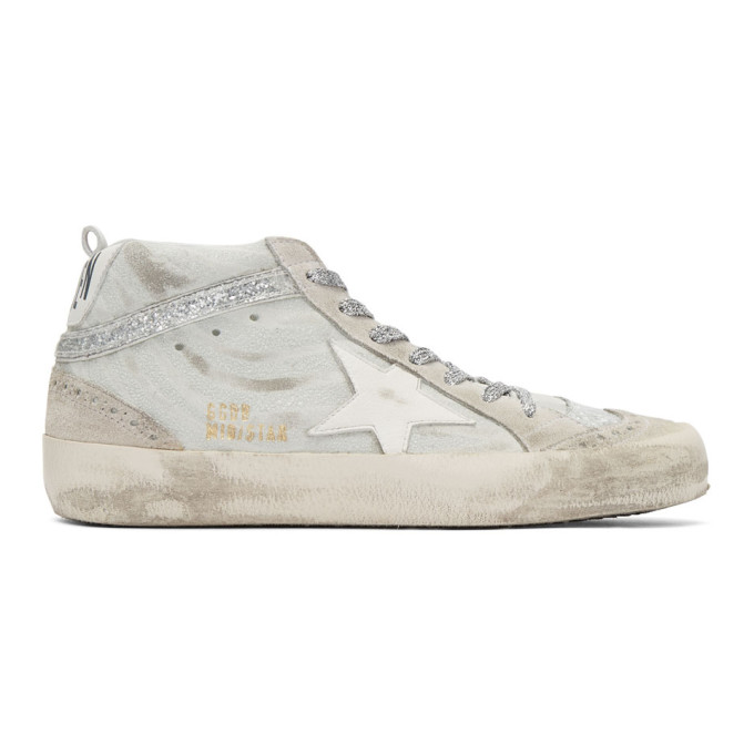 Golden Goose White & Grey Mid Star Sneakers