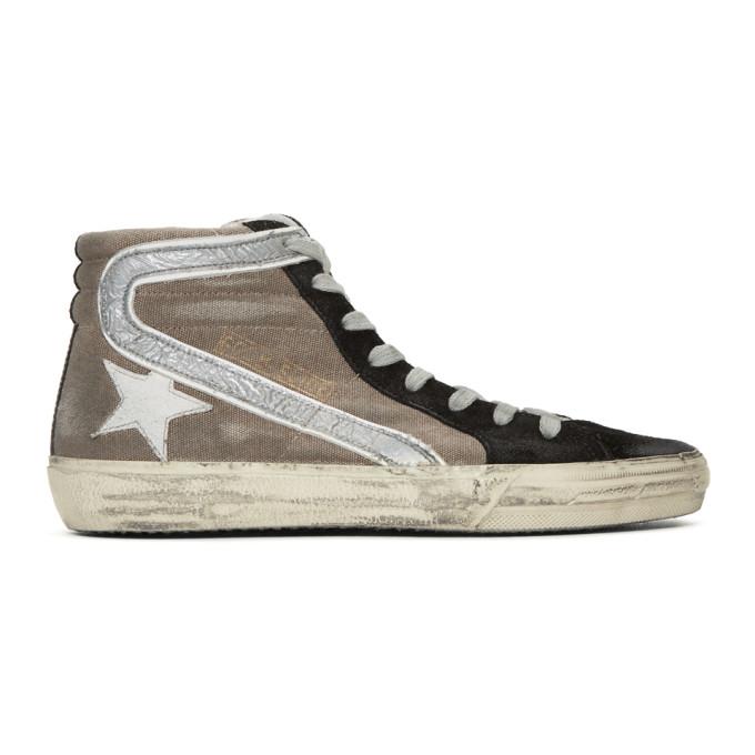 Image of Golden Goose Beige & Black Slide High-Top Sneakers