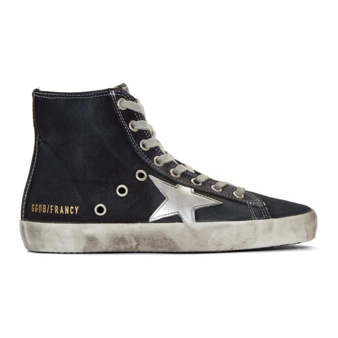 Golden Goose Navy Denim Francy High-Top Sneakers