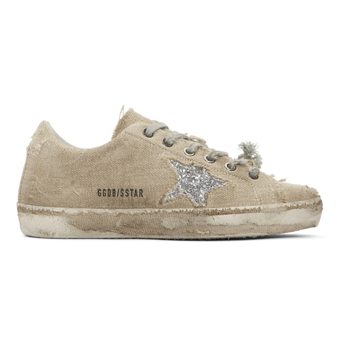 Image of Golden Goose Beige & Silver Glitter Superstar Sneakers