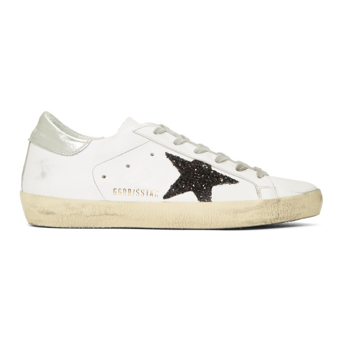 Golden Goose White & Black Glitter Superstar Sneakers