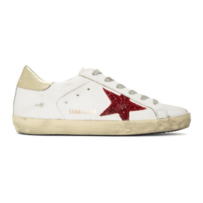 Golden Goose White & Red Glitter Superstar Sneakers
