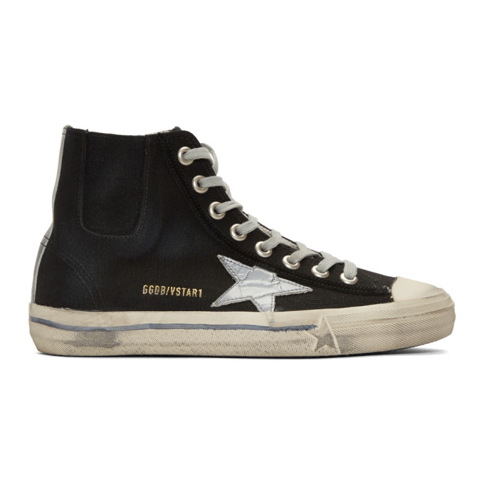 Image of Golden Goose Black & Silver Scotch Tape V-Star High-Top Sneakers