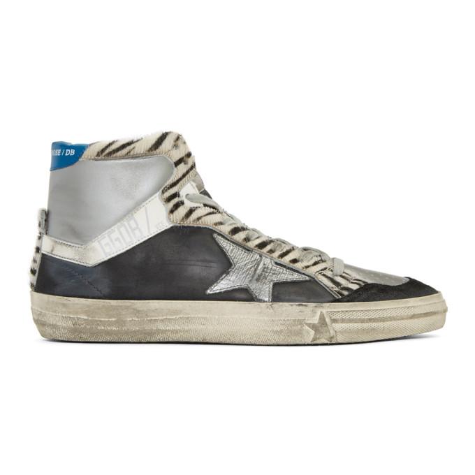 Image of Golden Goose Black & Silver Zebra High-Top Sneakers