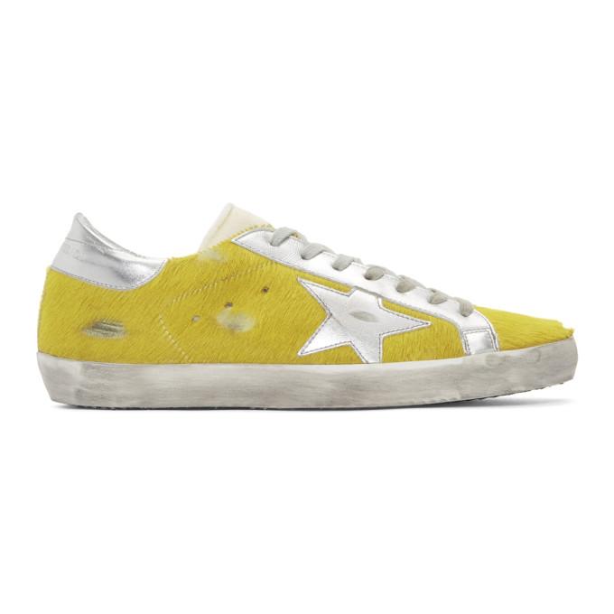 Golden Goose Yellow & Silver Calf Hair Superstar Sneakers