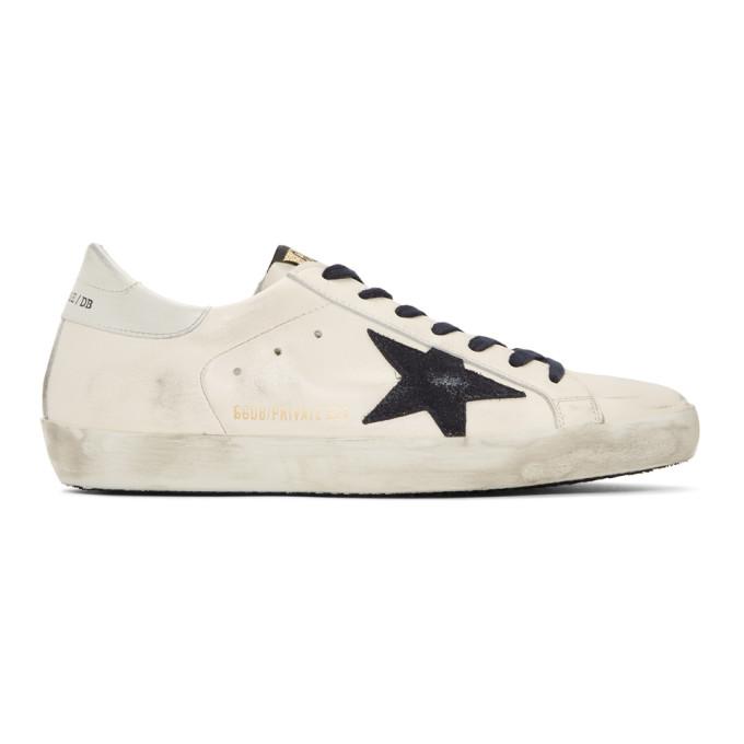 Golden Goose SSENSE Exclusive White & Navy Superstar Sneakers